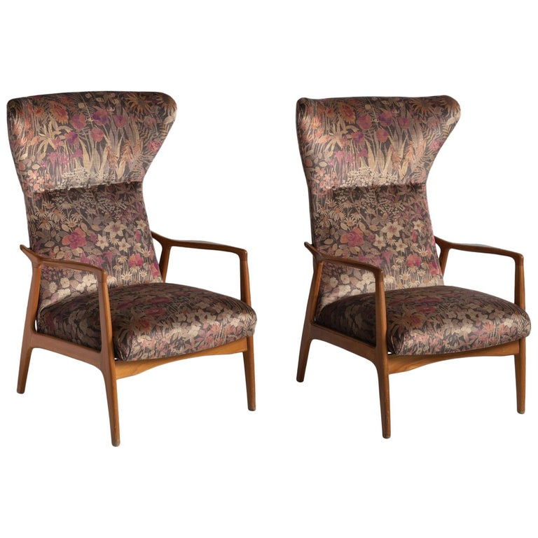 Modern Wingback Armchairs, circa 1950 For Sale