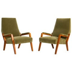 Pair of Mohair Lounge Chairs, Italy, circa 1960