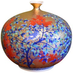 Gilded Japanese Imari Hand-Painted Porcelain Vase by Contemporary Master Artist
