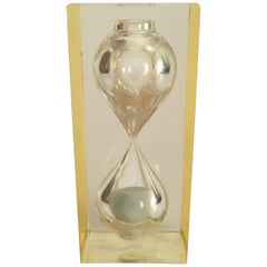 Lucite Hourglass Paperweight by Pierre Giraudon, circa 1970