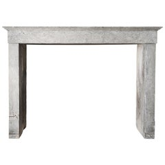 Antique Fireplace of Beautiful Marble Stone, 19th Century, Campagnarde Style