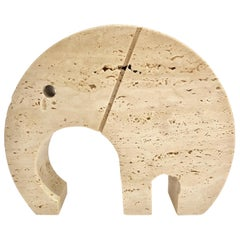 Midcentury Italian Travertine Marble Elephant Paperweight by Fratelli Mannelli