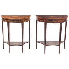 Antique Near Pair Demilune Mahogany & Marquetry Console Tables, 19th Century
