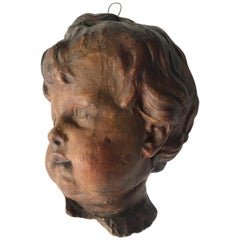 18th Century Terracotta Cherub Head