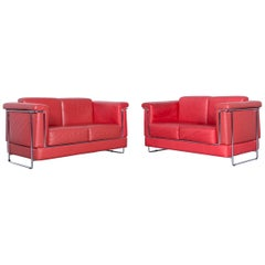 Züco Carat Designer Leather Sofa Set Red Two-Seat Couch