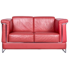 Züco Carat Designer Leather Sofa Red Two-Seat Couch