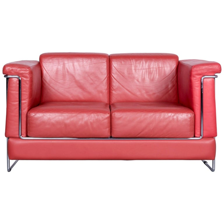 Züco Carat Designer Leather Sofa Red Two-Seat Couch For Sale