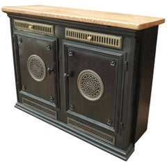 French Master House Iron and Brass Two-Door Cabinet with Solid Oak Top
