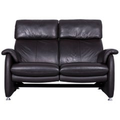 Willi Schillig Designer Leather Sofa Brown Two-Seat Couch Recliner