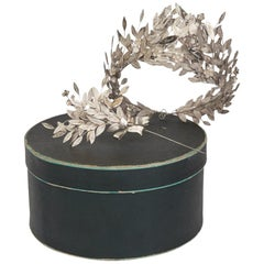 German Myrtle Wedding Silver Tiara and Corsage Pin, circa 1895