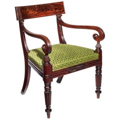 Large Regency Desk Armchair in Green Horsehair Fabric, circa 1820
