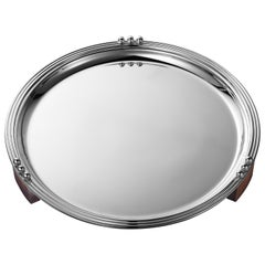 Puiforcat Etchea 1937 Silver Plated Round Serving Tray by Jean E. Puiforcat
