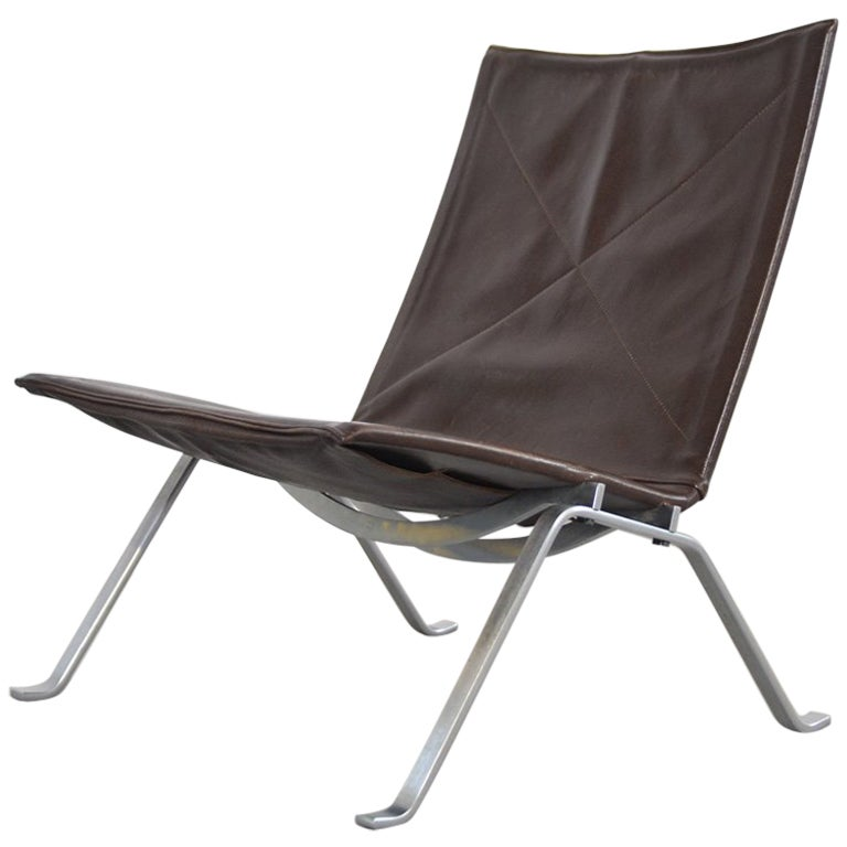 Poul Kjaerholm leather Lounge Chair PK 22 for E. Kold Christensen, Denmark