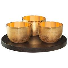 Puiforcat Jacaranda Gold Gilded Three-Bowl Tray Set with Wood Base