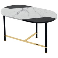 Cookies Console Table with Black and White Inlaid Marble Top and Brass Legs