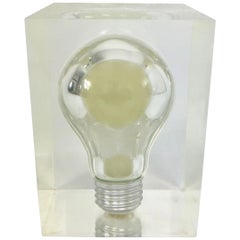 Pierre Giraudon, Pop Art Light Bulb Sculpture in Lucite, Mid-Century Modern