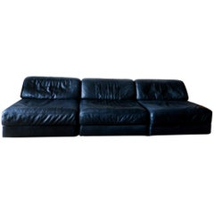 De Sede D76 Modular Leather Lounge Chairs or Sofa, Midcentury