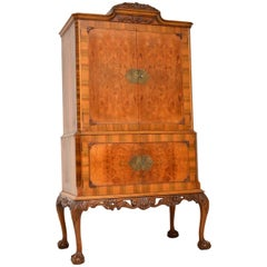 Antique Queen Anne Burr Walnut Cocktail Cabinet