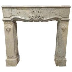 19th Century Louis 15 Fireplace in Jura Hard Limestone