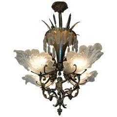 French Bronze and Glass Leaf Shade Chandelier