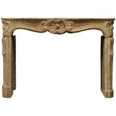 Antique French Limestone Louis XV Style Fireplace Mantel