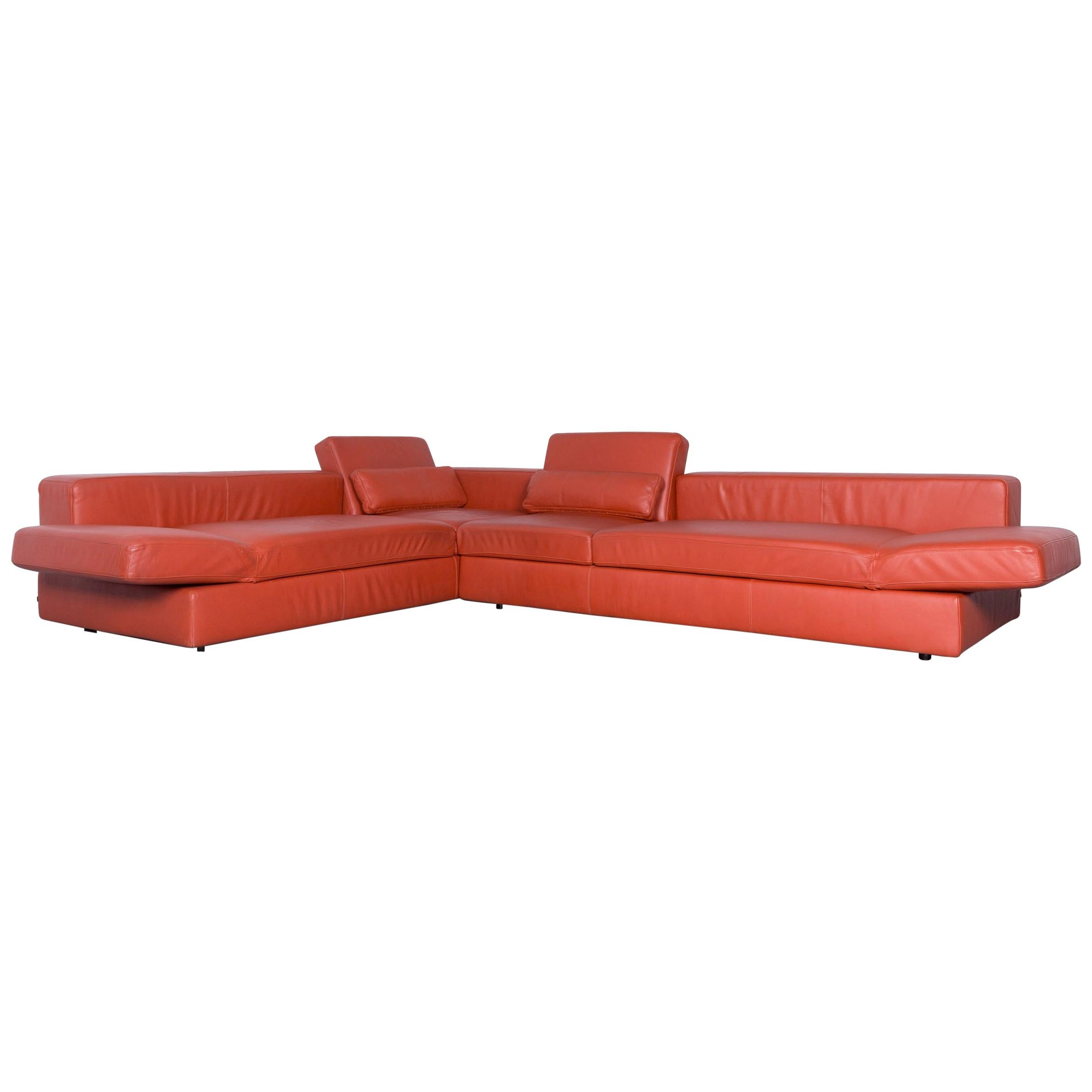 COR Designer Leather Corner Sofa Orange Couch