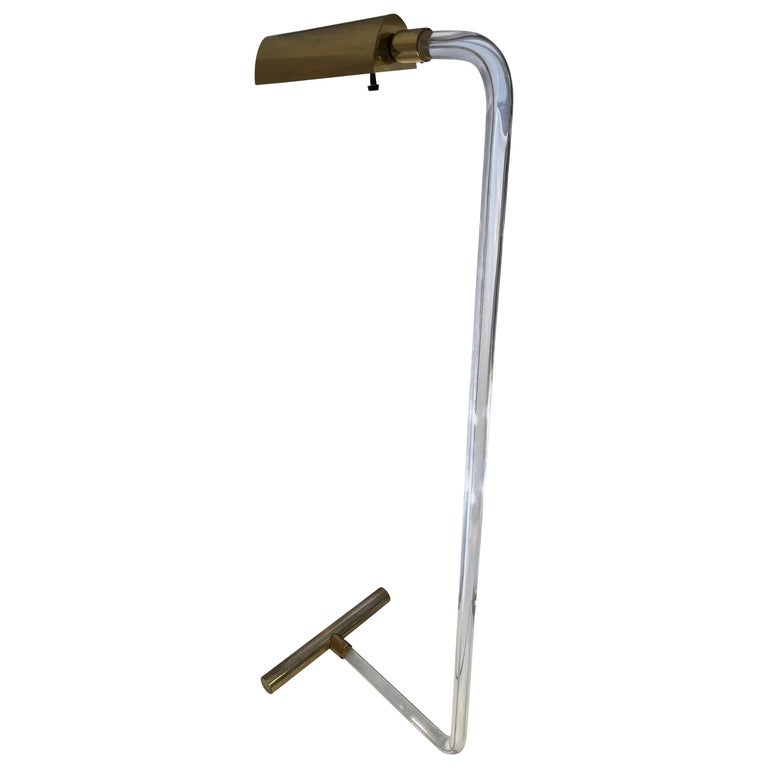 Peter Hamburger Crylicord Floor Lamp in Lucite and Brass
