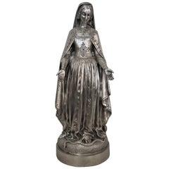 19th Century Silver on Bronze Madonna