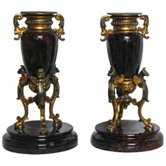 Gilt and Serpentine Candleholders