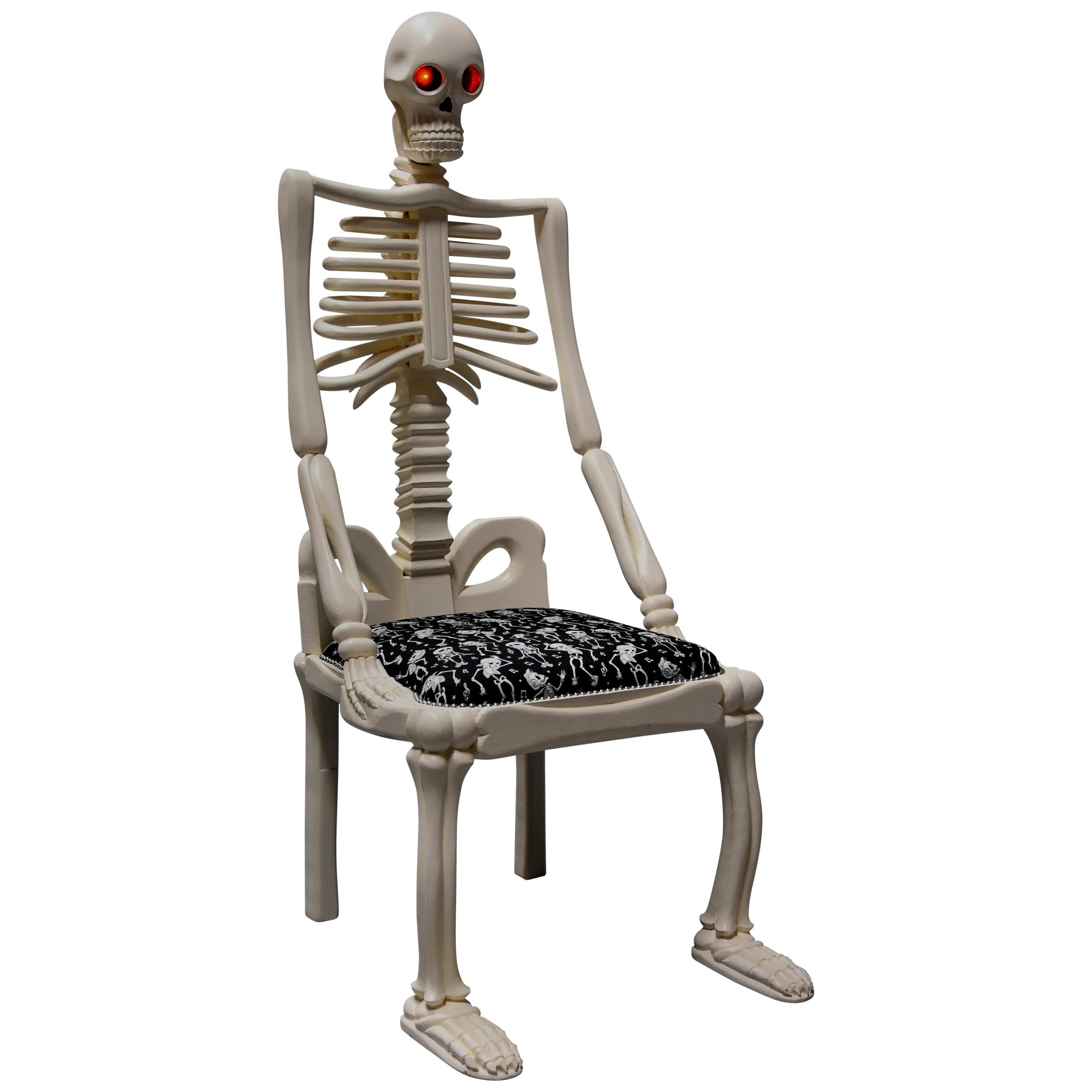 Highly Decorative And Unusual Hand Carved And Painted Wooden Skeleton Chair  For Sale