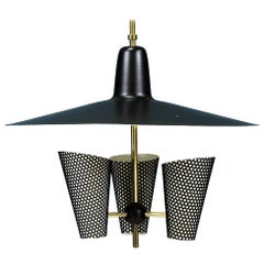 French Enameled Aluminum and Brass Ceiling Light by Jacques Biny
