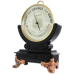 Huge Late Victorian Dial Brass Aneroid Barometer on Ebonized Stand by WJ Hass