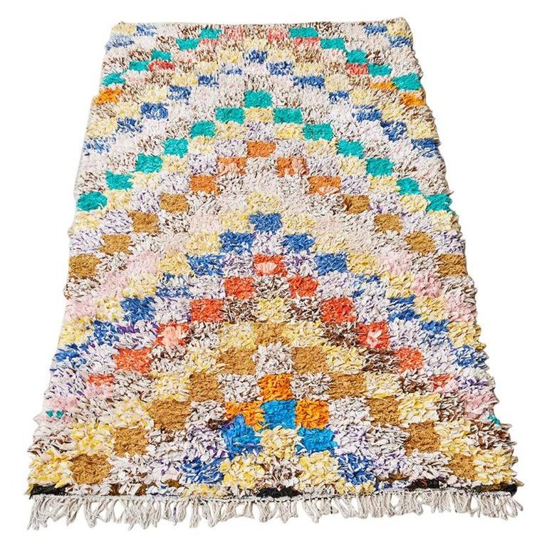 Vintage Colourful Moroccan Boucherouite Rug For Sale