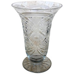 20th Century Art Deco Etched Carved Glass Vase with Ornamental Motifs