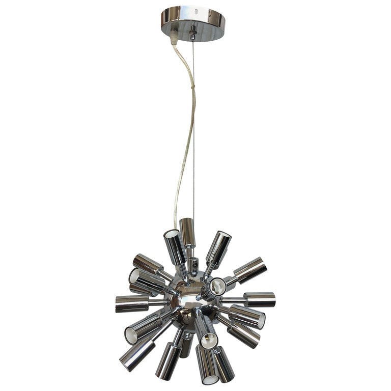 Midcentury Sputnik Chandelier Light Fixture In Polished Chrome 1960s For