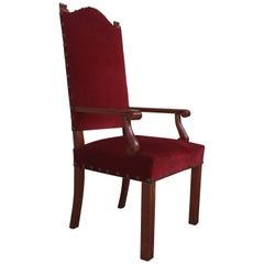 19th Century Spanish Revival High Back Armchair with Red Velvet Upholstery