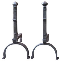 18th Century French Louis XV Andirons or Firedogs