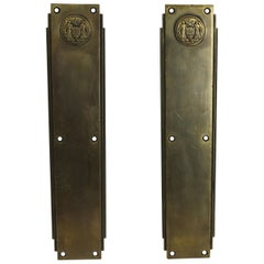 1931 Pair of Art Deco Corbin Philadelphia Civic Center Push Plates