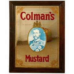 Rare George V Colemans Mustard Advertising Mirror, Shop Display