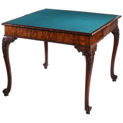 George III Chippendale Rococo Concertina Action Mahogany Card Table