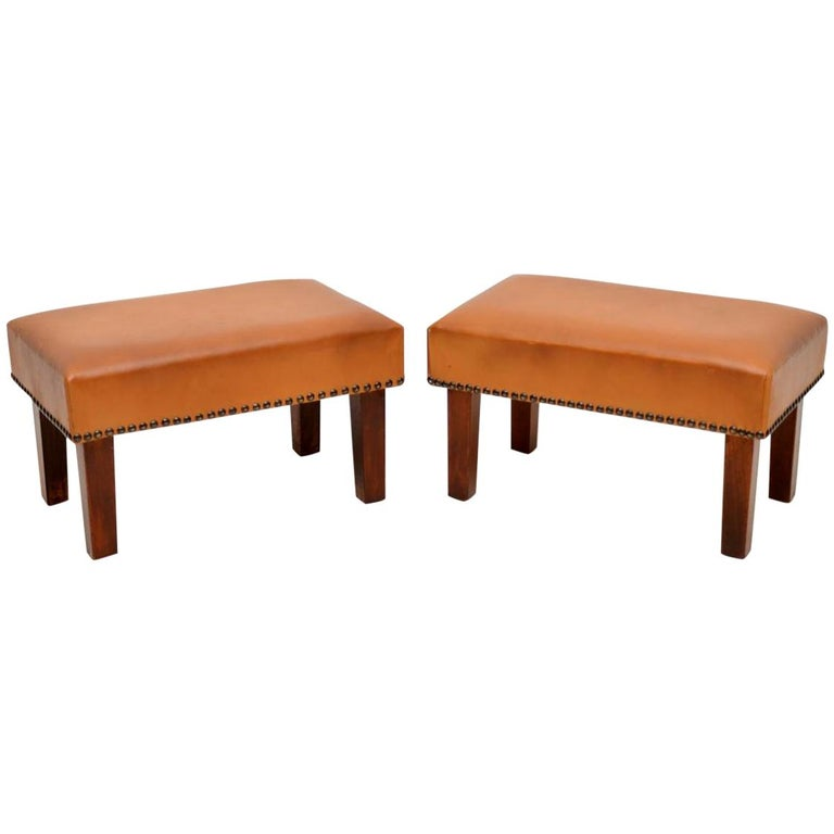 Pair of Vintage Leather and Mahogany Foot Stools