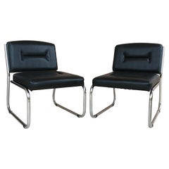 Pair of Art Deco Tubular Chrome Lounge Chairs in Black Leather