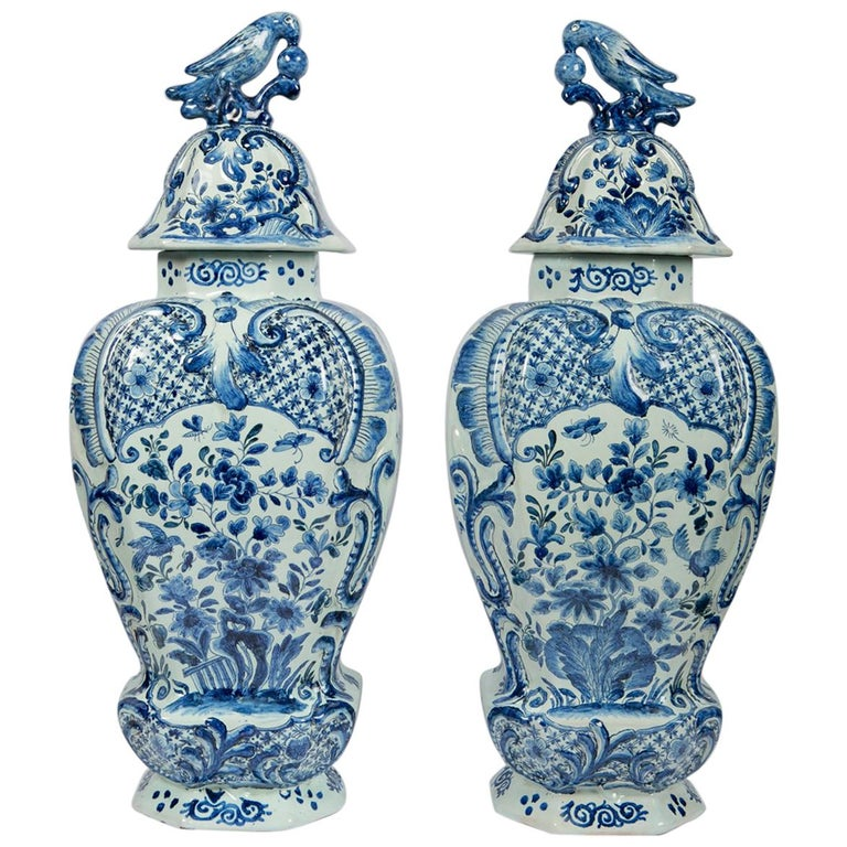 Large Antique Blue and White Delft Covered Vases
