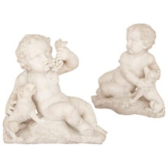 'War and Peace', Pair of Antique Italian Marble Figures
