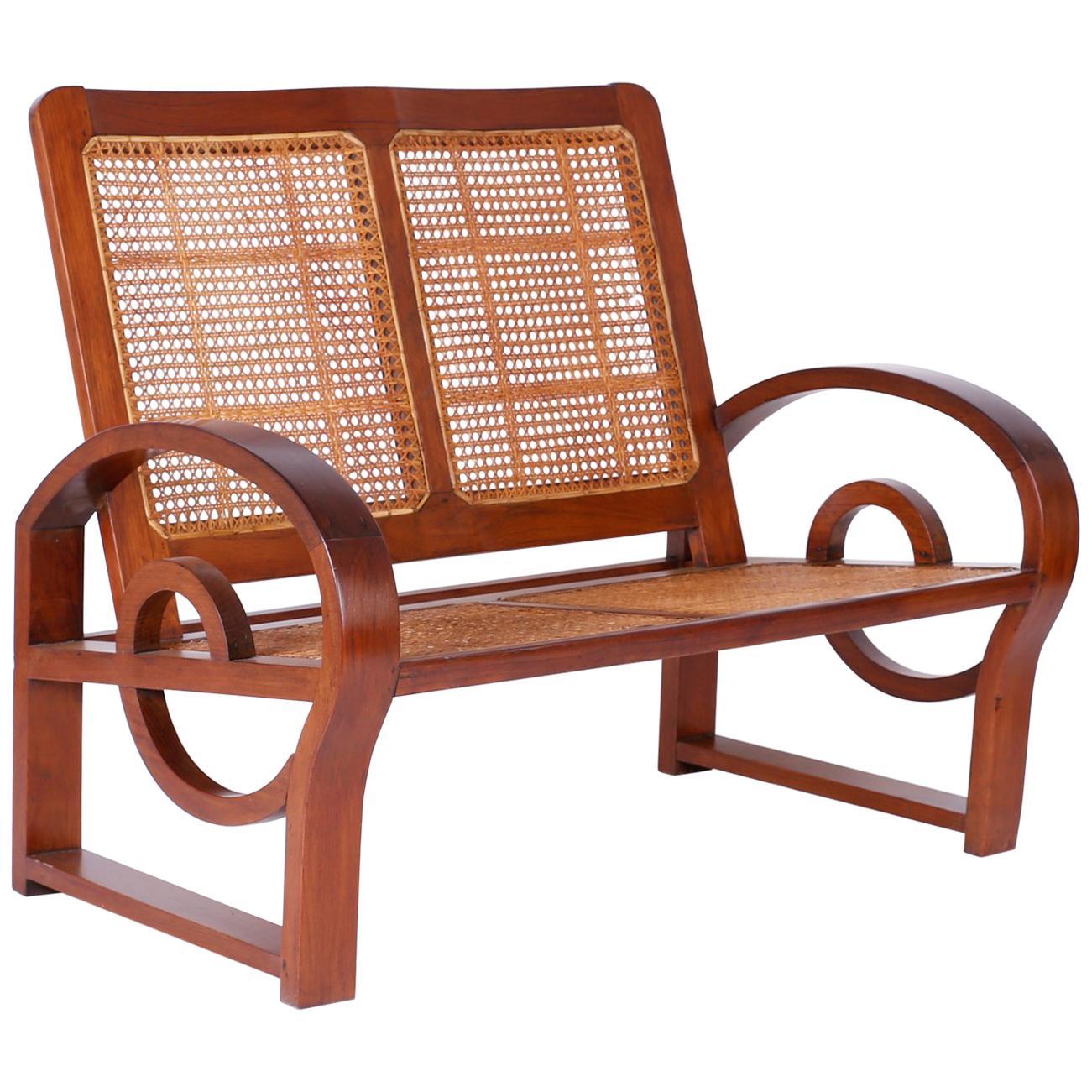 Amazing Art Nouveau Style West Indies Settee For Sale