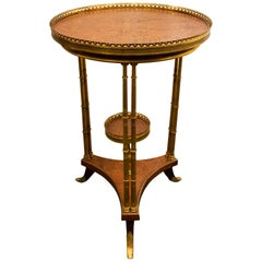 Louis XVI Style Bronze Mounted Burl Wood Side Table