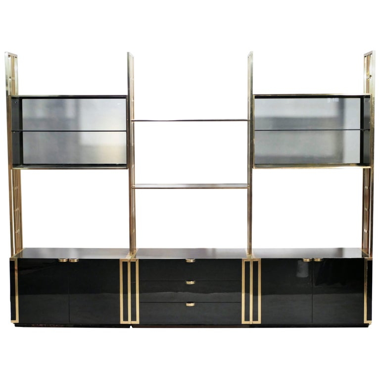 Kim Moltzer Lacquer and Brass Shelves, 1970s