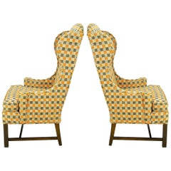 Pair of Clean Lined Autumn Plaid Wool Upholstered Wing Chairs with Mahogany Legs