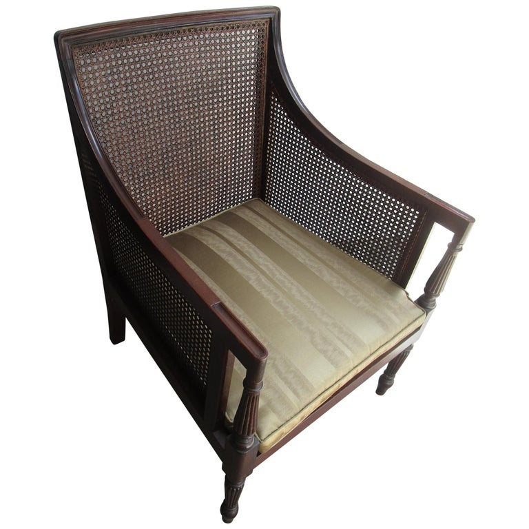 19th Century Caned Mahogany Bergère Armchair