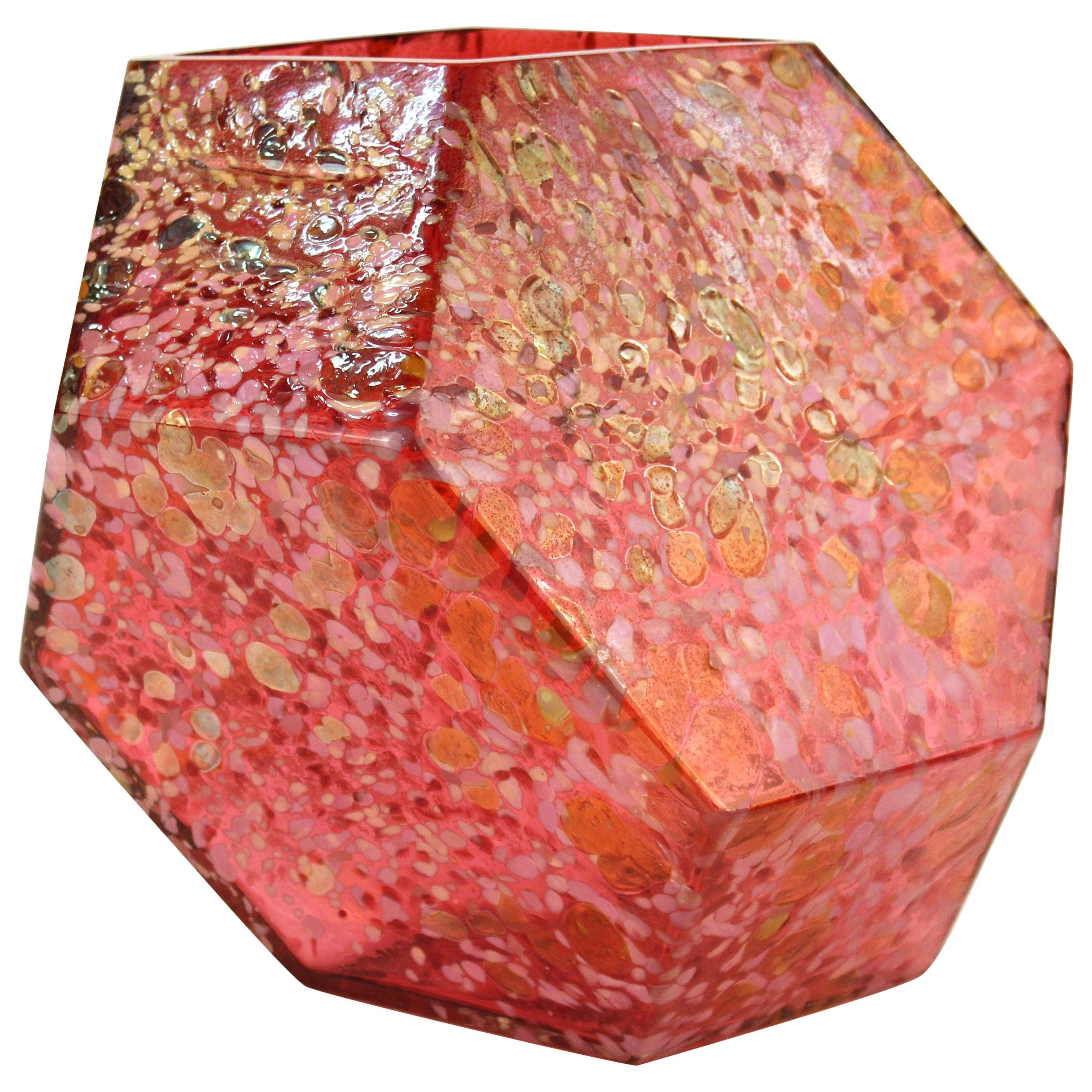 John Torreano Modern Faceted Geometric Art Glass Sculpture or Vase